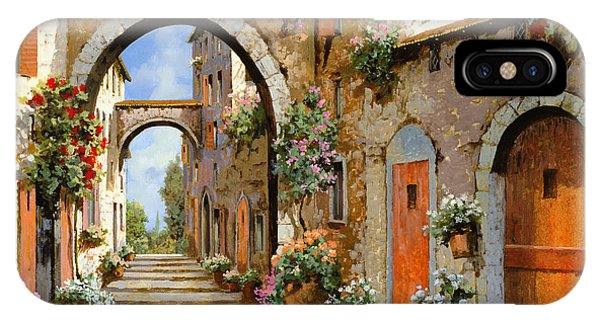 Red iPhone X Case - Le Porte Rosse Sulla Strada by Guido Borelli