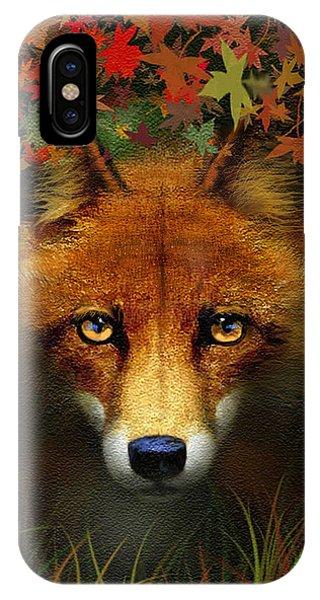 Cunning iPhone X Case - Leaf Fox by Robert Foster