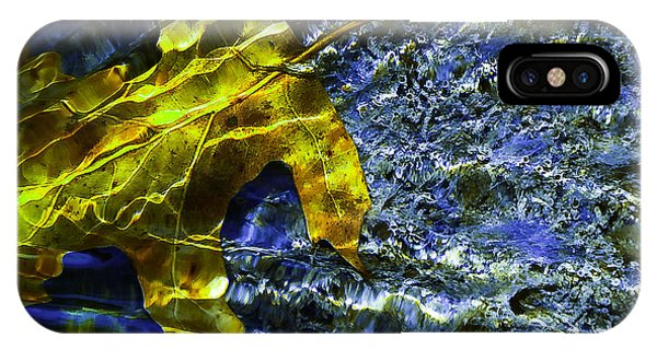 Leaf In Creek - Blue Abstract IPhone Case