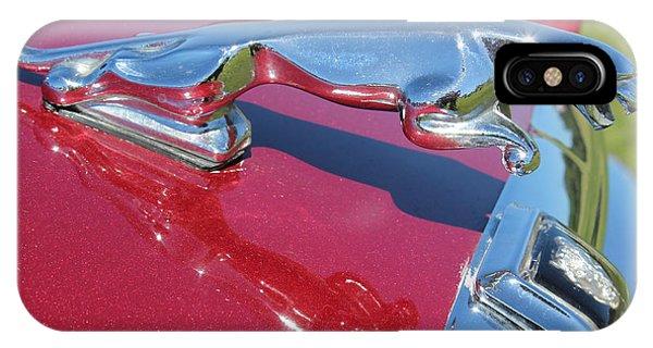 Leaper Hood Ornament On Red Jaguar Phone Case by Mark Steven Burhart