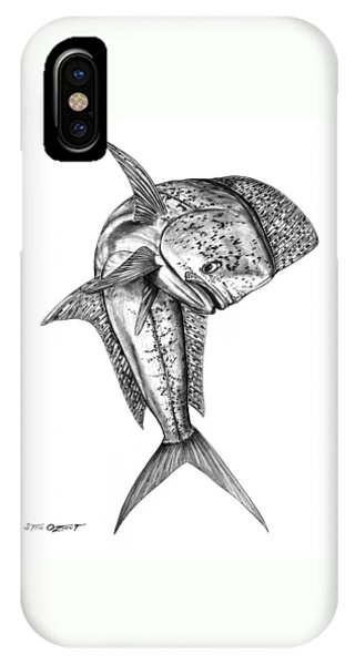 IPhone Case featuring the drawing Leaping Dolphin  by Steve Ozment