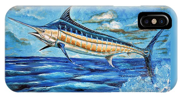 IPhone Case featuring the painting Leaping Marlin by Steve Ozment