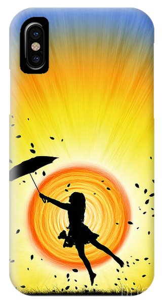 Umbrella iPhone Case - Learning To Fly by Tim Gainey