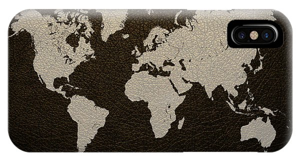 Texture iPhone Case - Leather Texture Map Of The World by Design Turnpike