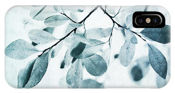 Monochrome iPhone Case - Leaves In Dusty Blue by Priska Wettstein