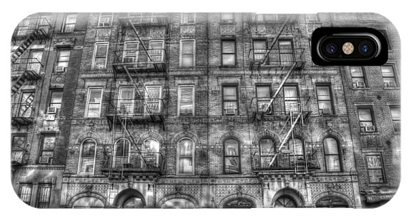 Rock And Roll iPhone Case - Led Zeppelin Physical Graffiti Building In Black And White by Randy Aveille