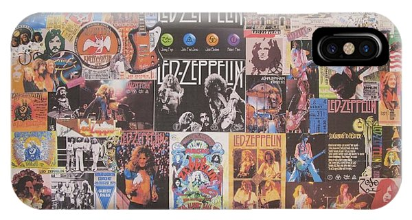 Electric Guitar iPhone Case - Led Zeppelin Years Collage by Donna Wilson
