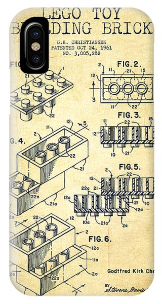 Patent Drawing iPhone Case - Lego Toy Building Brick Patent - Vintage by Aged Pixel