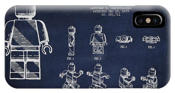 Astronaut iPhone Case - Lego Toy Figure Patent Drawing by Aged Pixel