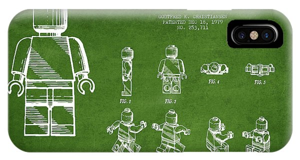 Astronaut iPhone Case - Lego Toy Figure Patent Drawing From 1979 - Green by Aged Pixel