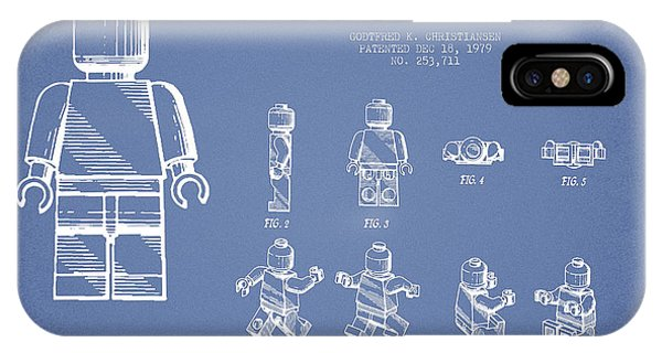 Astronaut iPhone Case - Lego Toy Figure Patent Drawing From 1979 - Light Blue by Aged Pixel