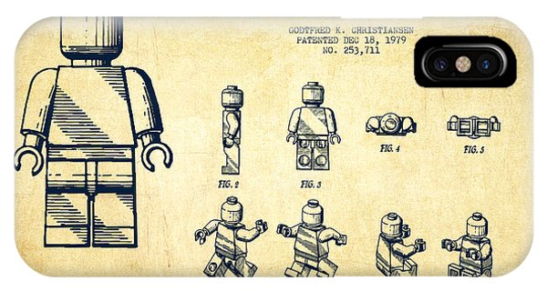 Astronaut iPhone Case - Lego Toy Figure Patent Drawing From 1979 - Vintage by Aged Pixel