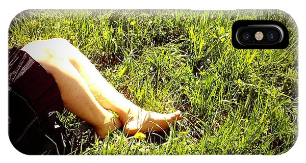 Legs Of A Woman And Green Grass IPhone Case