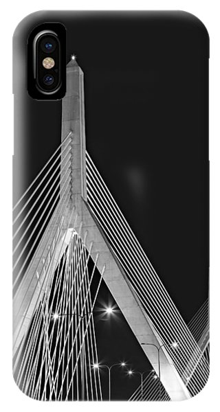 Bean Town iPhone Case - Leonard P. Zakim Bunker Hill Memorial Bridge Bw II by Susan Candelario
