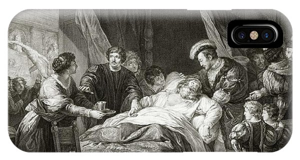 King Charles iPhone Case - Leonardo Da Vicni On His Deathbed by Library Of Congress