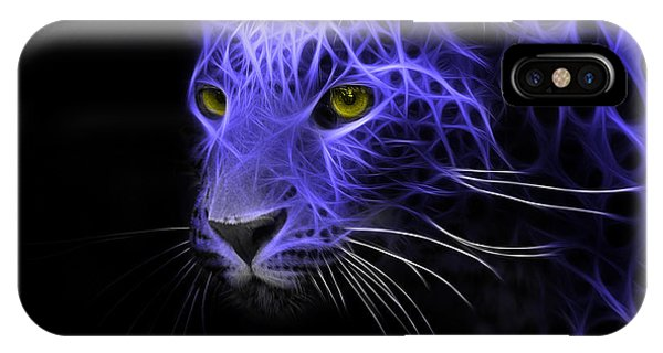 Leopard Fractal Blue IPhone Case