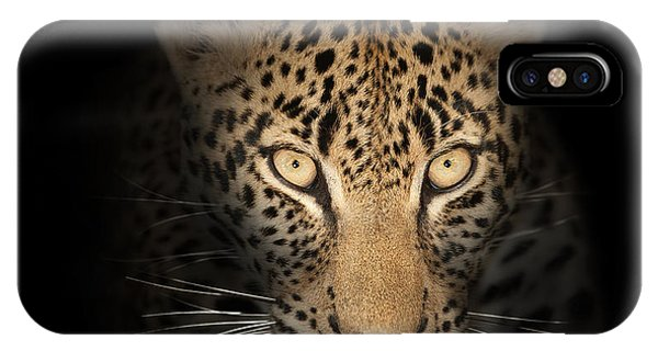 Cats iPhone Case - Leopard In The Dark by Johan Swanepoel