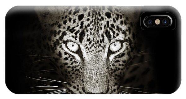 Cat iPhone Case - Leopard Portrait In The Dark by Johan Swanepoel