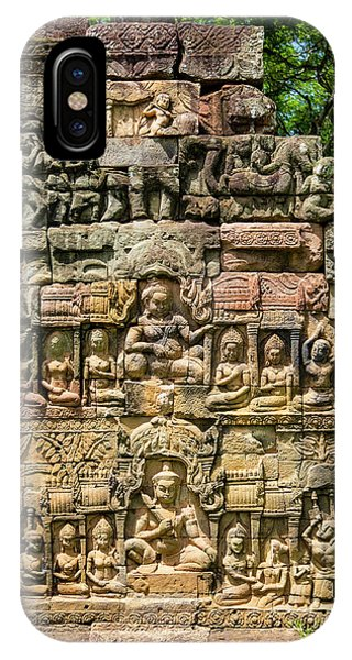 Angkor Thom iPhone Case - Leper King Terrace, Angkor Thom by Douglas Peebles