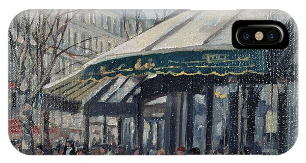 Left iPhone Case - Les Deux Magots, St Germain Des Pres, Paris, 1998 Oil On Canvas by Rosemary Lowndes