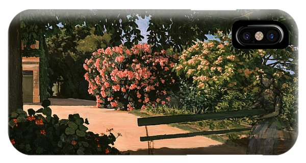 Rosebush iPhone Case - Les Lauriers Roses, 1867 Oil On Canvas by Jean Frederic Bazille