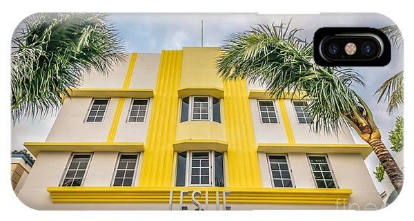 Leslie Hotel South Beach Miami Art Deco Detail - Hdr Style Phone Case by Ian Monk