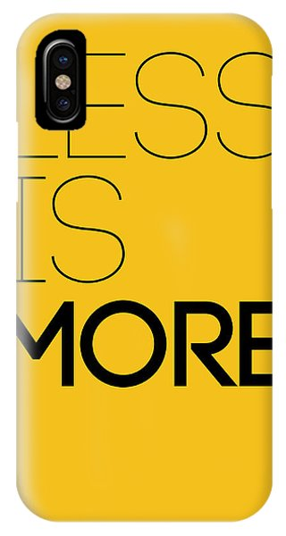 Quote iPhone Case - Less Is More Poster Yellow by Naxart Studio