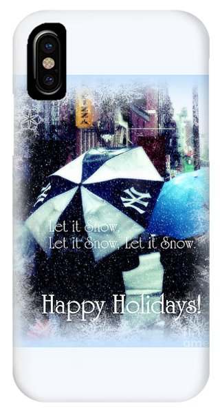 Let It Snow - Happy Holidays - Ny Yankees Holiday Cards IPhone Case