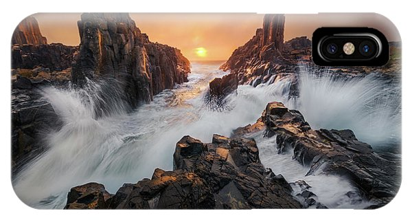 Rock Formation iPhone Case - Let The Light Breaking Through by Tim Fan