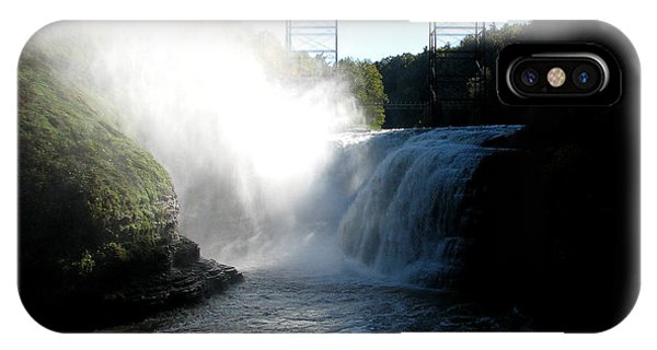 Letchworth State Park Upper Falls And Railroad Trestle IPhone Case