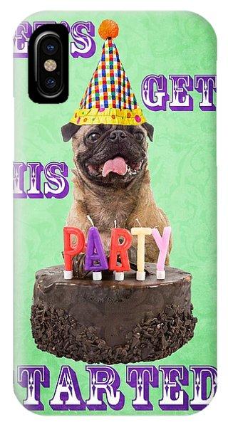 Pug iPhone X Case - Let's Get This Party Started by Edward Fielding