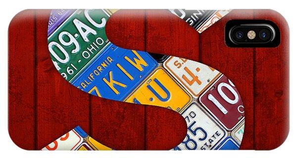 Letter S Alphabet Vintage License Plate Art IPhone Case