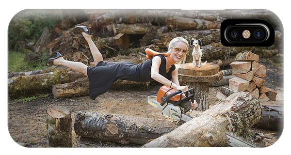 Levitating Housewife - Cutting Firewood IPhone Case