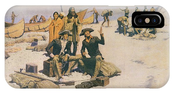 Explorer iPhone Case - Lewis And Clark At The Mouth Of The Columbia River by Frederic Remington