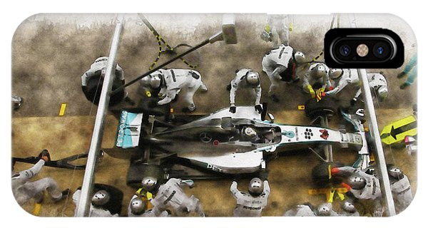 Lewis Hamilton Of Britain Service The Car At Pit Stop IPhone Case