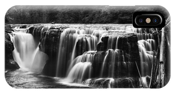 Lewis River Lower Falls Black And White IPhone Case