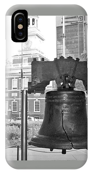 Liberty Bell And Independence Hall Bw IPhone Case