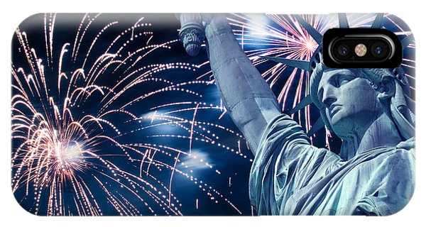 July 4 iPhone Case - Liberty Fireworks by Delphimages Photo Creations
