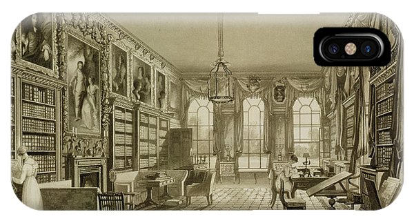 Fireplace iPhone Case - Library As Sitting Room, Cassiobury by Augustus Welby Pugin