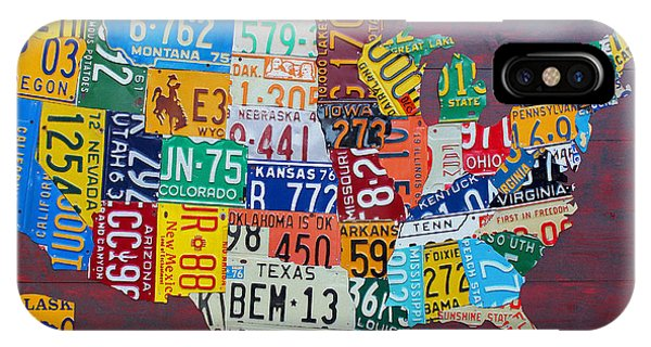 Oklahoma iPhone Case - License Plate Map Of The United States by Design Turnpike