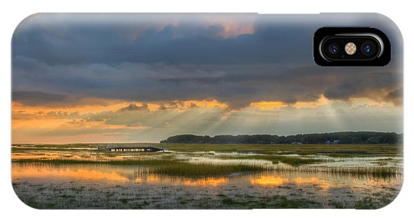 Tidal Marsh iPhone Case - Lieutenant Island Sunset Square by Bill Wakeley