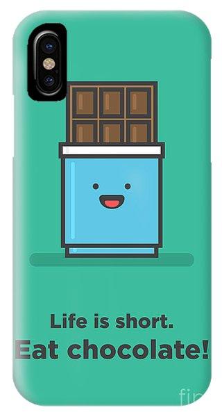 Vector iPhone Case - Life Is Short. Eat Chocolate Line Art by Orange Vectors