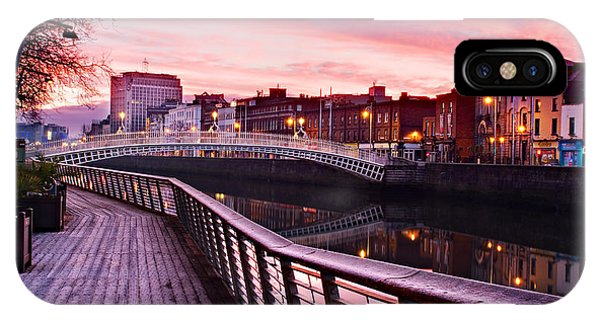 IPhone Case featuring the photograph Liffey Boardwalk At Dawn - Dublin by Barry O Carroll