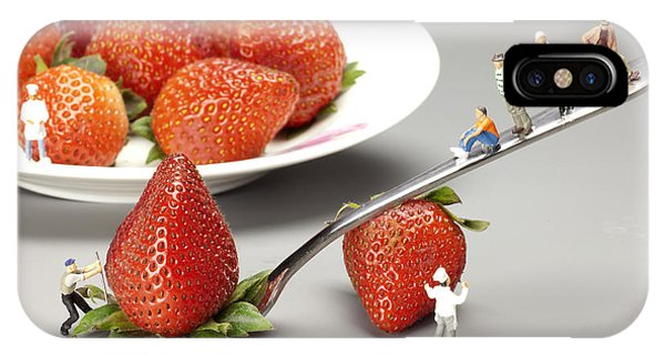 Fork iPhone Case - Lifting Strawberry By A Fork Lever Food Physics by Paul Ge
