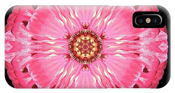 Light Red Zinnia Elegans Flower Mandala IPhone Case