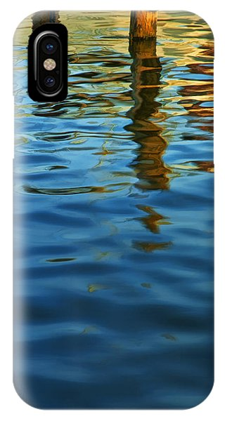 Light Reflections On The Water By A Dock At Aransas Pass IPhone Case
