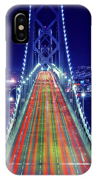 Light Trails On Bay Bridge At Night IPhone Case