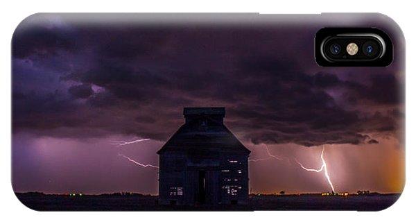 Lightening Against The Barn IPhone Case