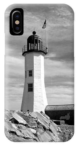 iPhone Case - Lighthouse Black And White by Barbara McDevitt