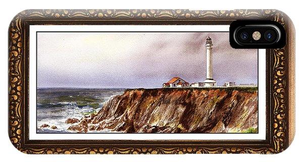 Lighthouse Wall Decor iPhone Case - Lighthouse In Vintage Frame by Irina Sztukowski